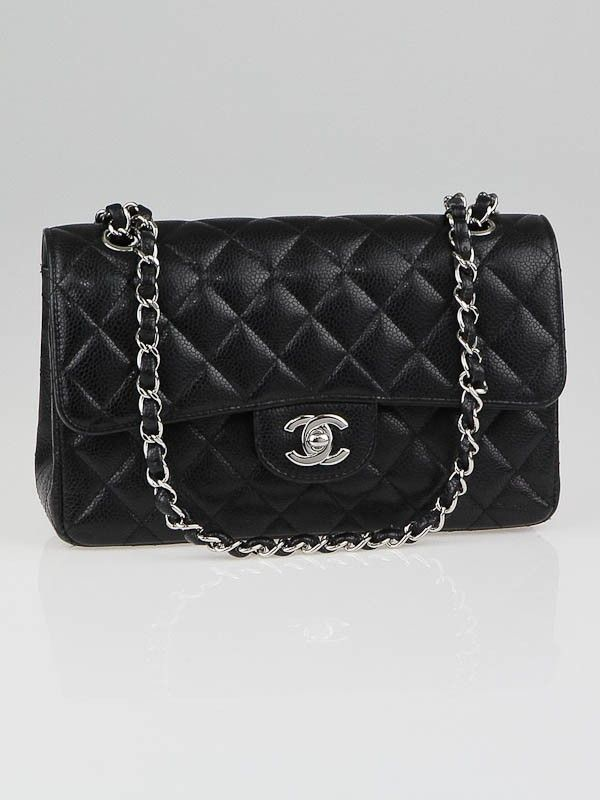 Chanel Black Quilted Caviar Leather Small Classic Double Flap Bag Used Chanel Bags Chanel Classic Flap Bag Channel Bags