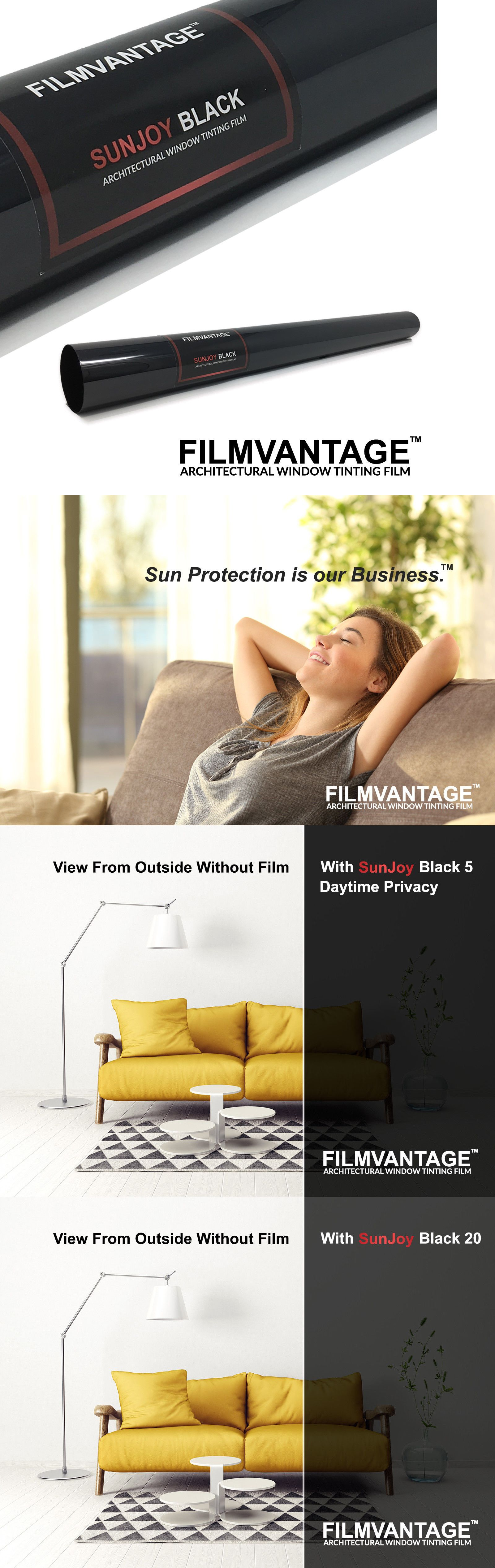 SunJoy 5 One Way Mirror Privacy Home Commercial Window Tint Film Solar UV Heat