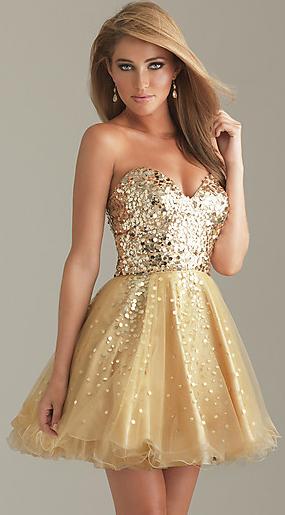 Vestido festa curto dourado