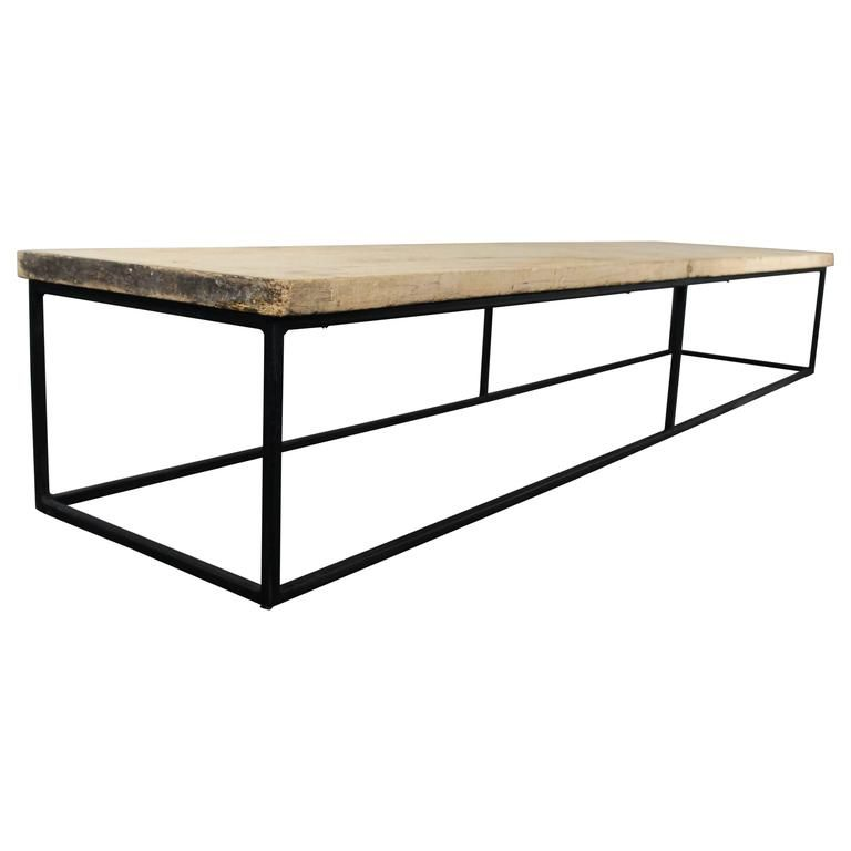 19th Century Sycamore Top On Bespoke Metal Frame Coffee Table Loft Warehouse