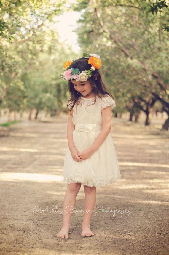 Ivory Lace Toddler Girls Dress, Ivory Flower Girl Dress ...