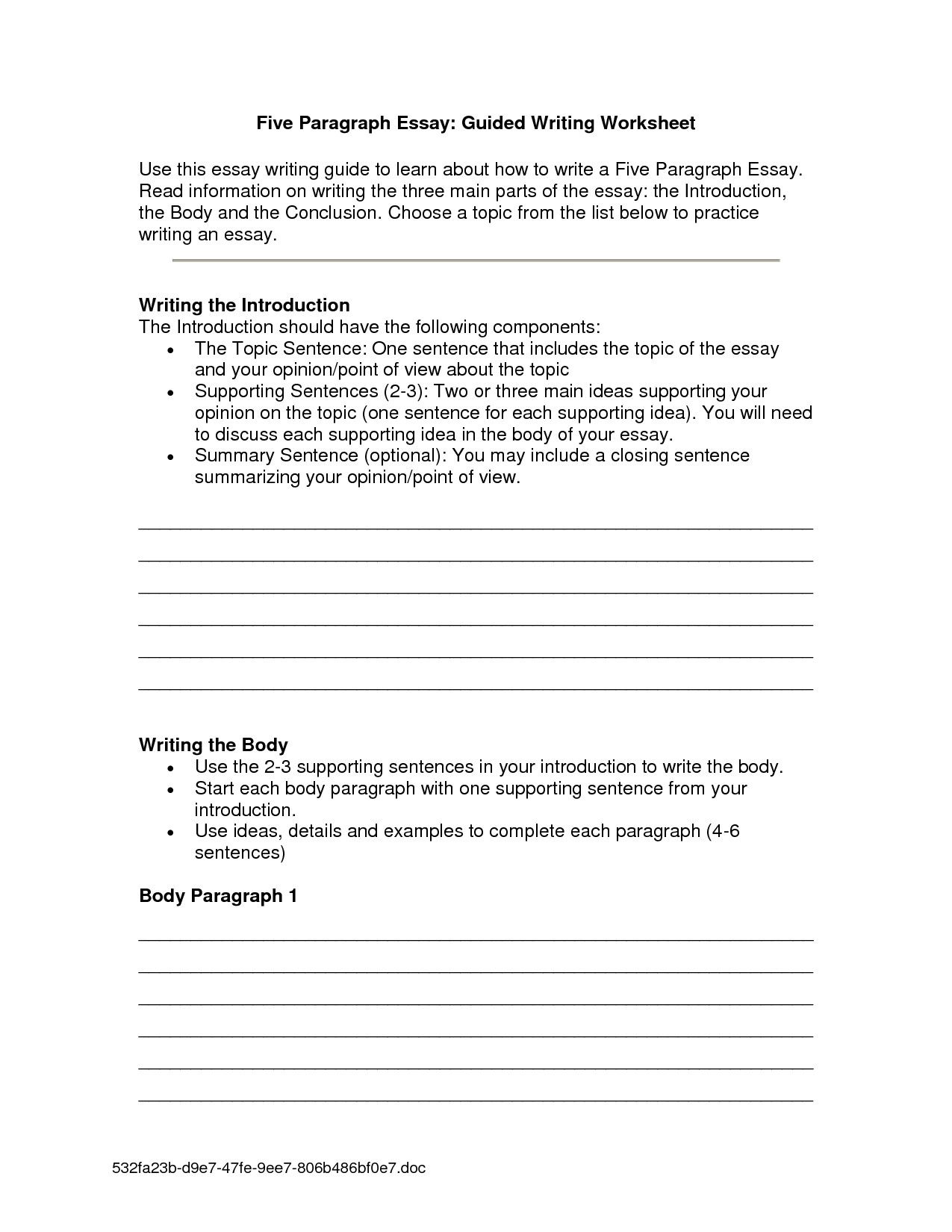 3rd Grade Essay Writing Worksheet