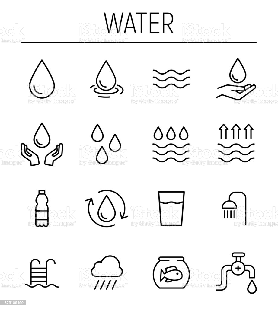 Set Of Water In Modern Thin Line Style High Quality Black Outline Free Vector Art Vector Free Pictogram