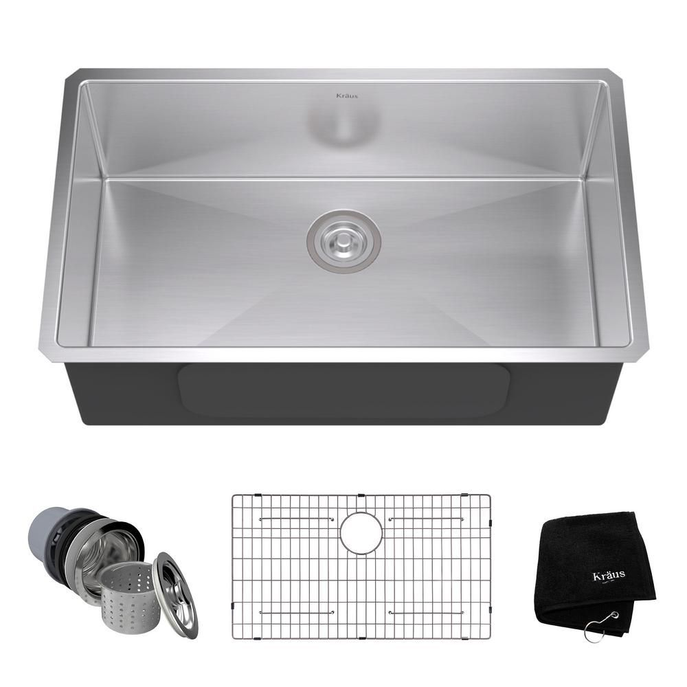 KRAUS Undermount Stainless Steel 32 in. Single Bowl Kitchen Sink Kit ...