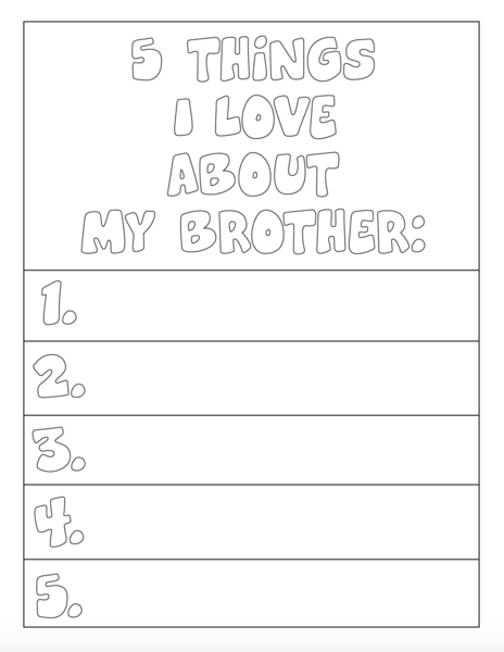5 Things I Love About My Brother Coloring Page Mothers Day Coloring Pages Jesus Coloring Pages Love Coloring Pages