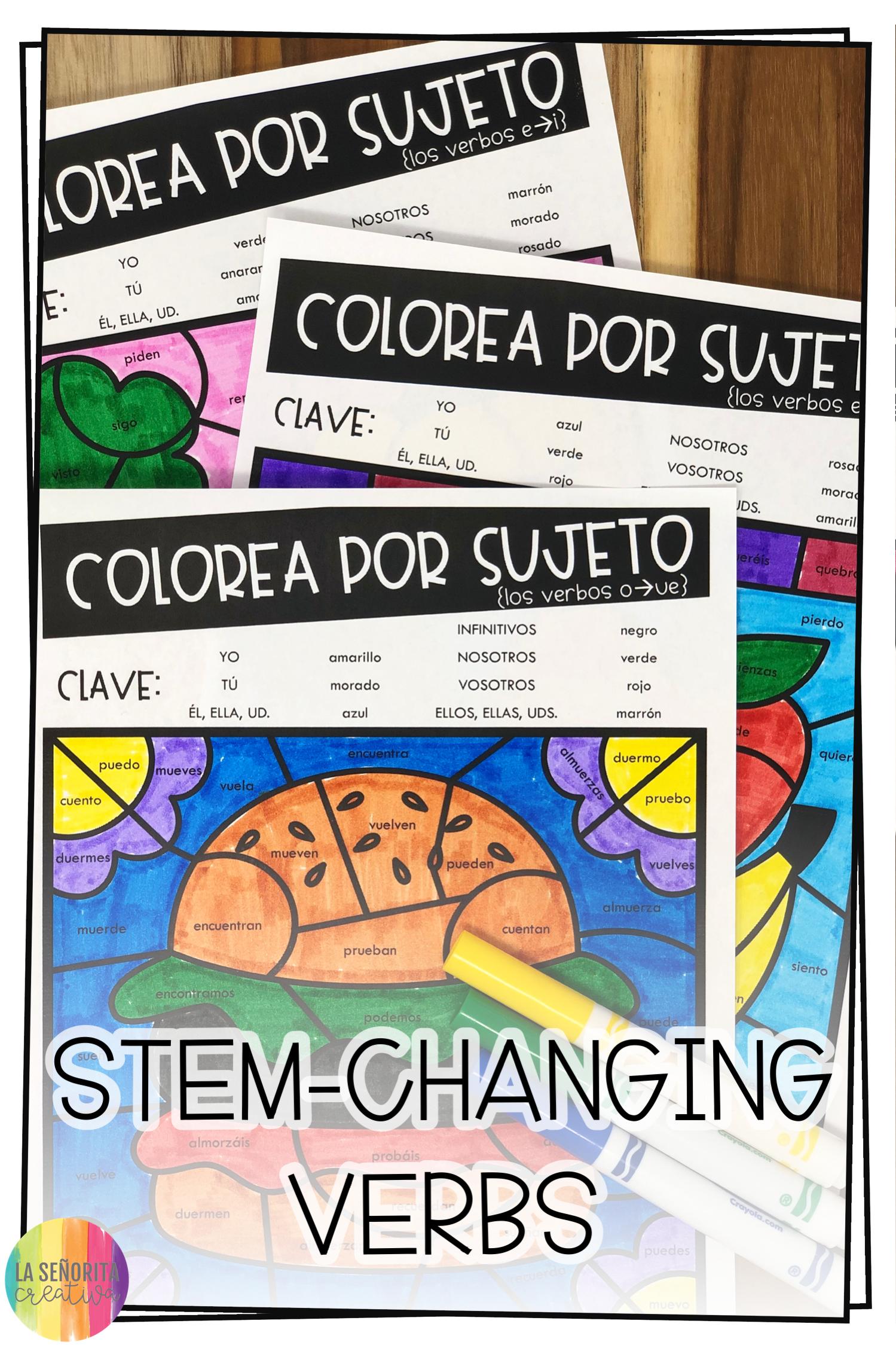 Stem Changing Present Tense Verbs Worksheets