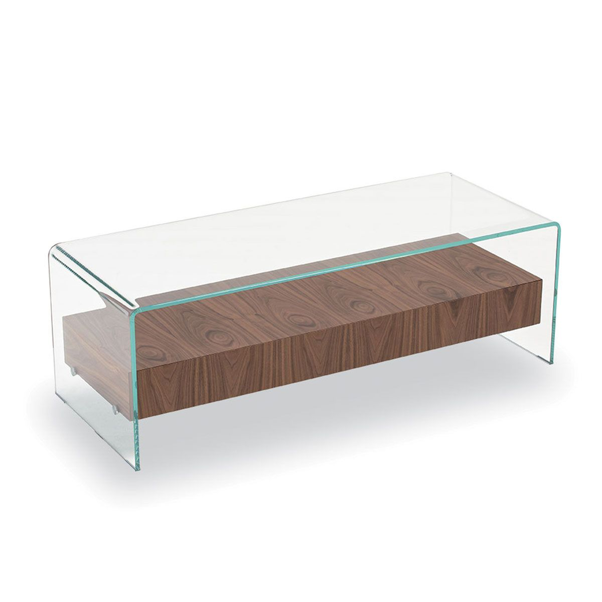Bridge glass coffee table with wooden drawer klarity