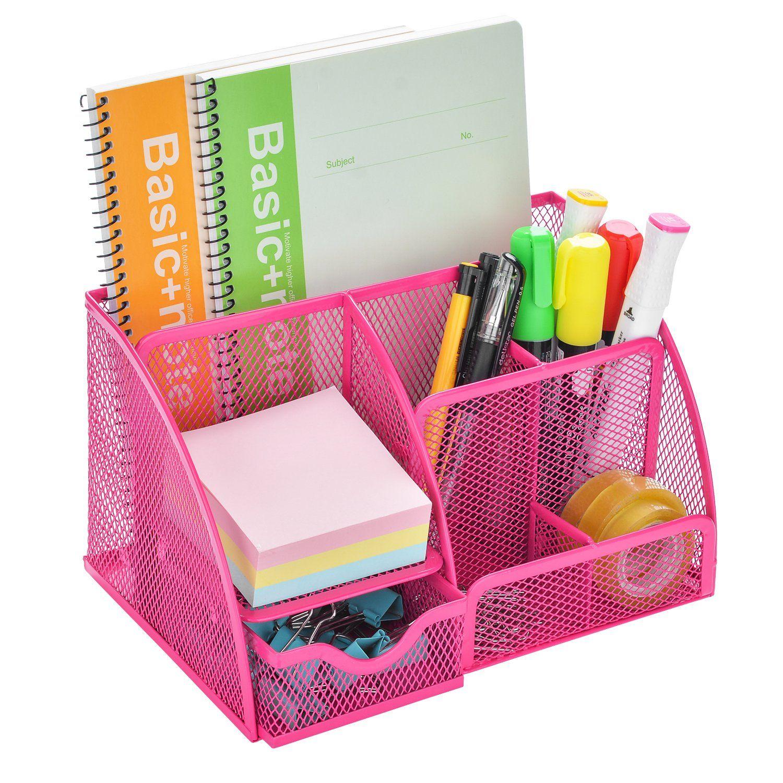 Mesh Desk Organizer, AGPtEK Office Supplies Set with 6 Compartments ...