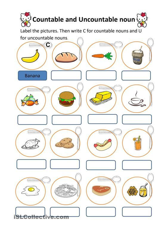 Countable And Uncountable Nouns Worksheets Pinterest