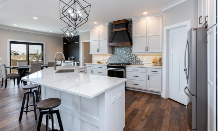 White open concept kitchen with matte black accents and ...