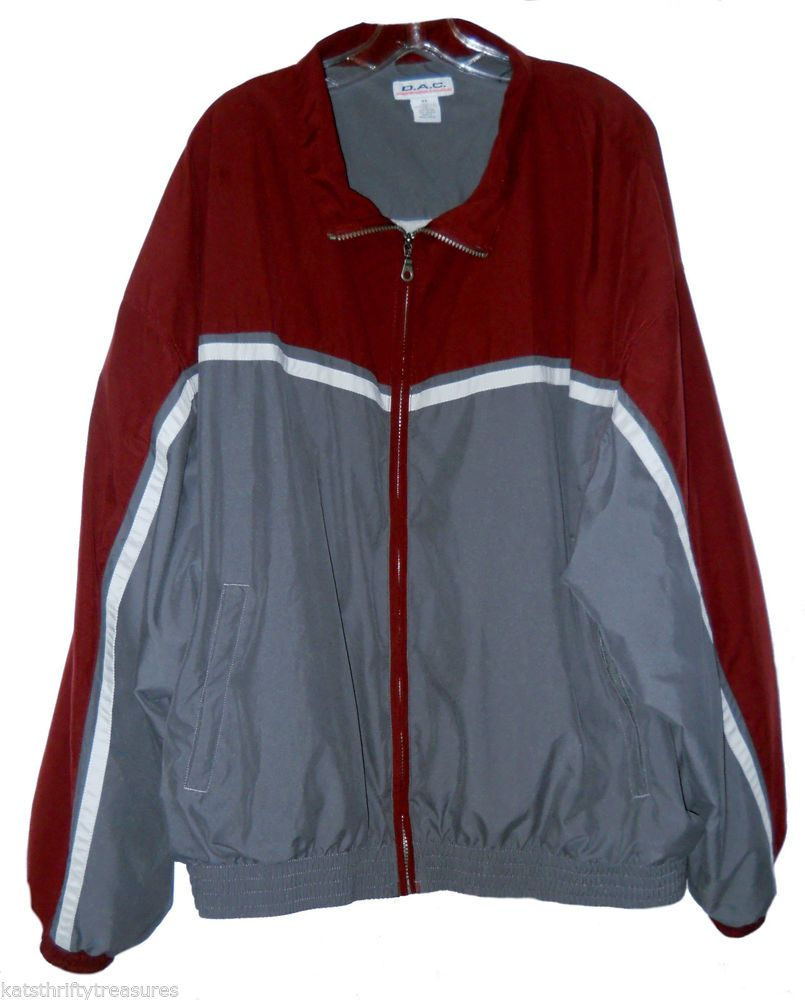 Mens DAC Performance 4X Jacket Maroon Gray Jersey Lined Zip Front Inside Pocket
