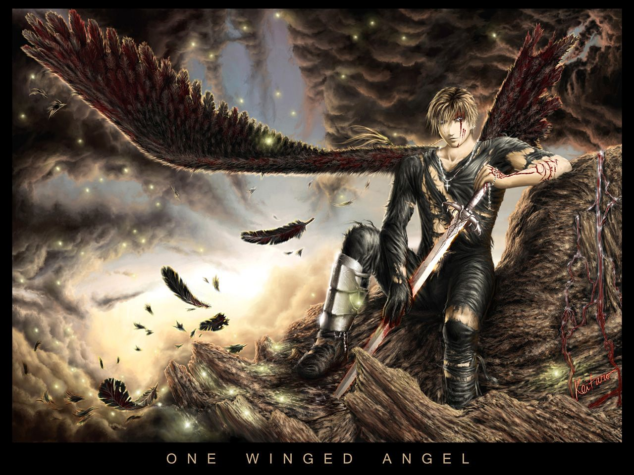 One winged angel warrior wallpaper from angels wallpapers battle
