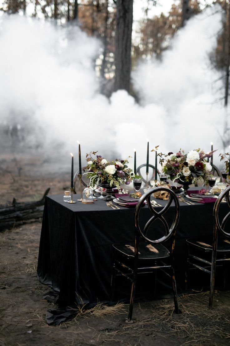 Moody Jewel-Toned Halloween Wedding Inspiration Shoot