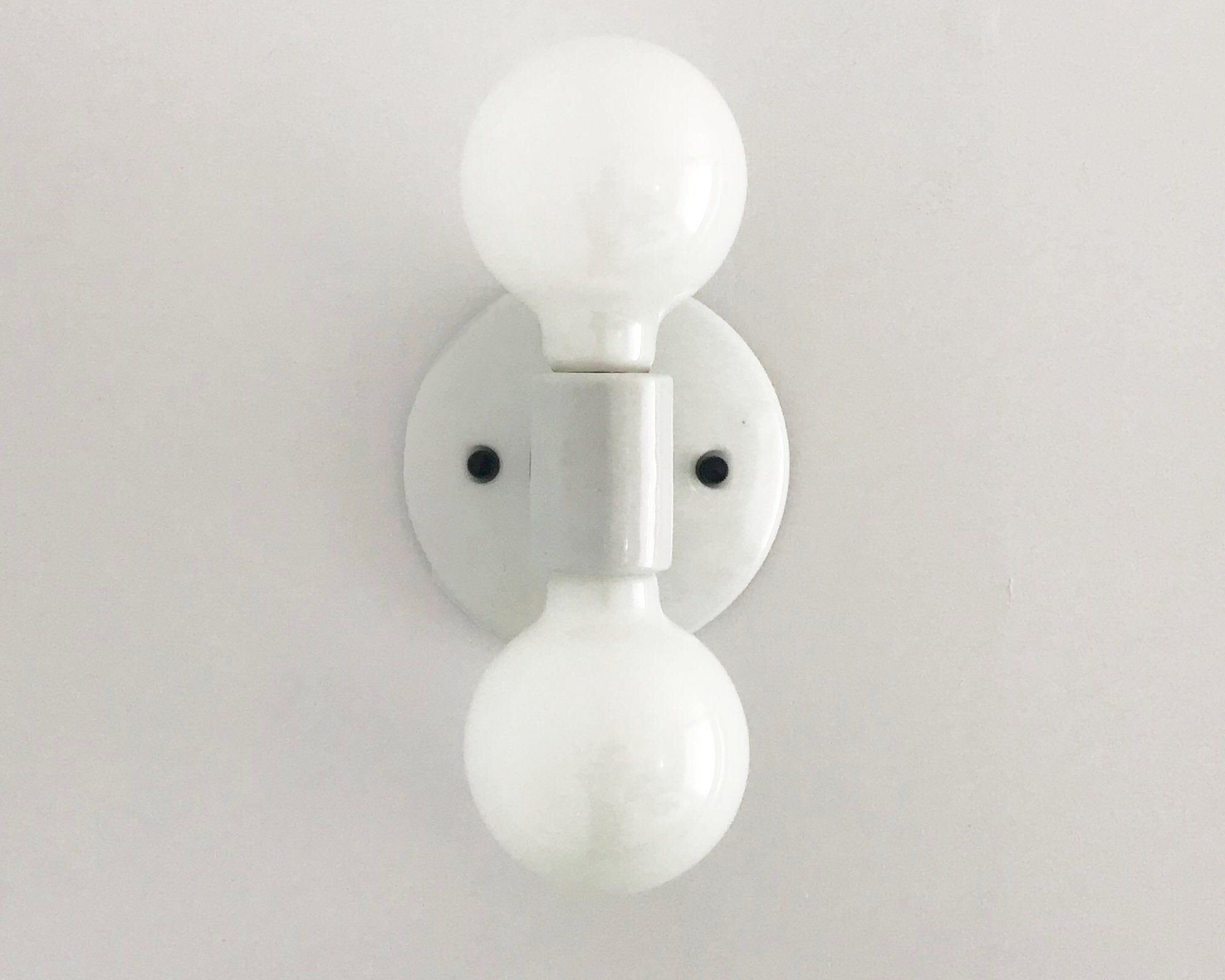 "Photo of Double Wall Sconce • ""Duet"" • Porcelain Black and White Wall Light • Bathroom Fixture • Wall Sconce"