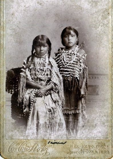 Two Kiowa Indian girls photographed on the Oklahoma ...