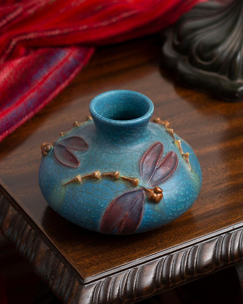 Dragonfly Promenade Ceramic Pottery Vase - Ephraim Pottery