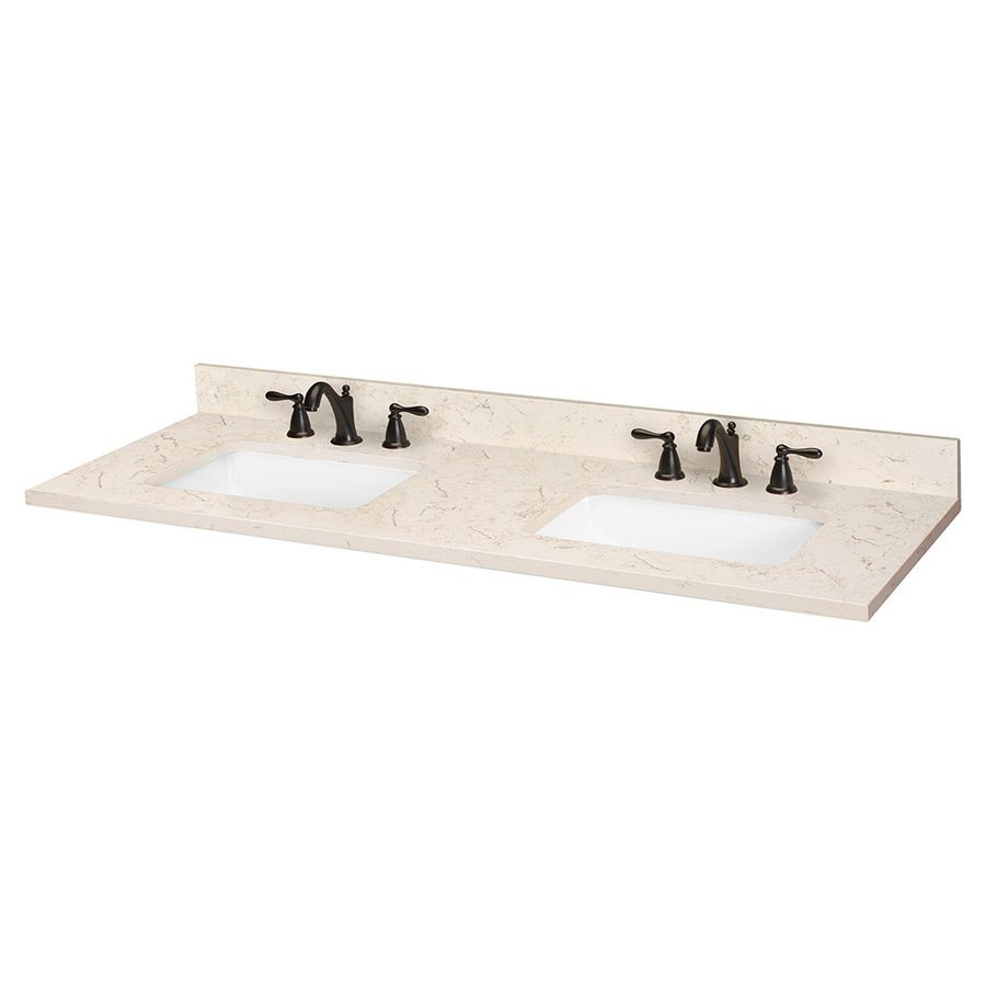 Shop ESTATE By RSI Marbled Beige Quartz Undermount Double Sink Bathroom Vanity  Top (Common: