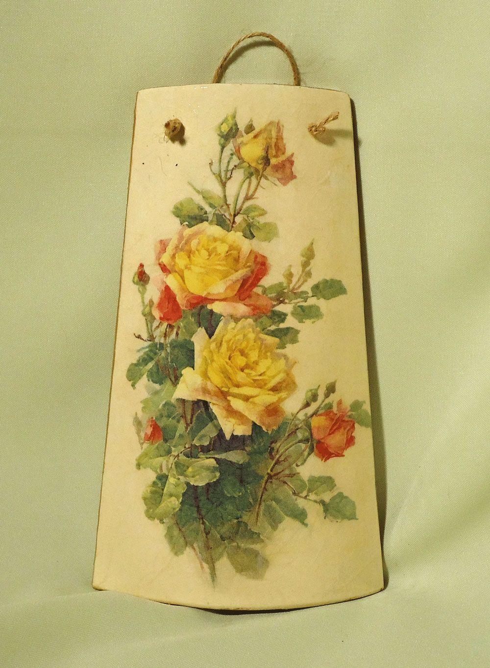 Tegola buchet de trandafiri de deco shop breslo tejas decoradas roof tiles decoupage art - Pintar tejas de barro ...