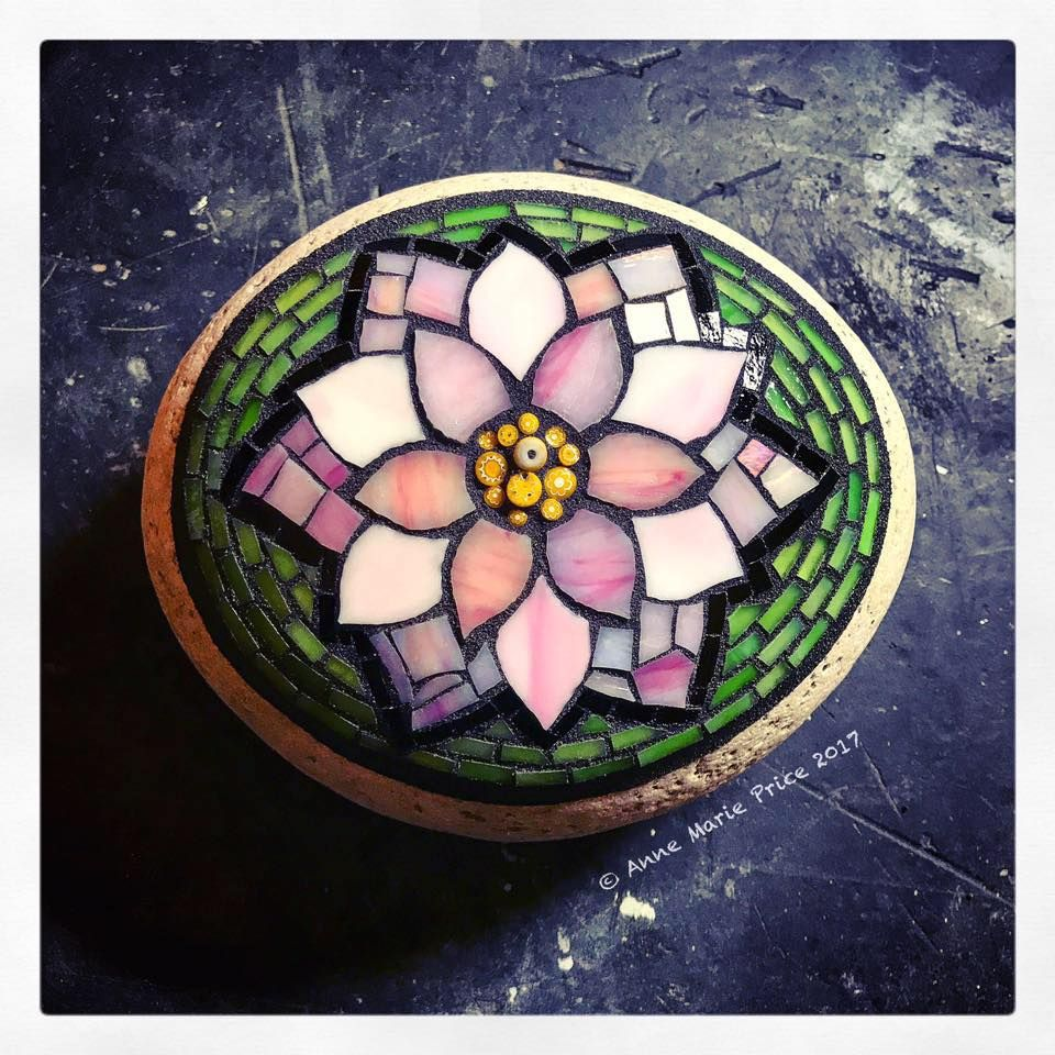 Lotus Flower Mosaic On Stone By Anne Marie Price Annemarieprice