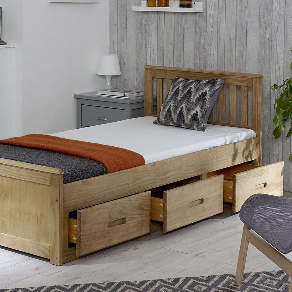 Mission Storage Bed In Waxed Contemporary Bed Frame Bed With