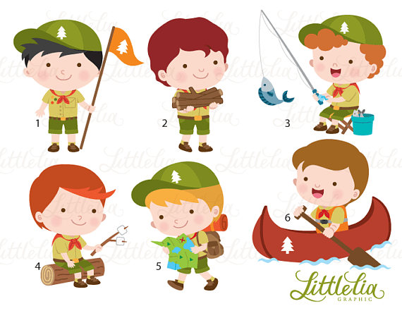 Camping boy. Boys scout clipart products