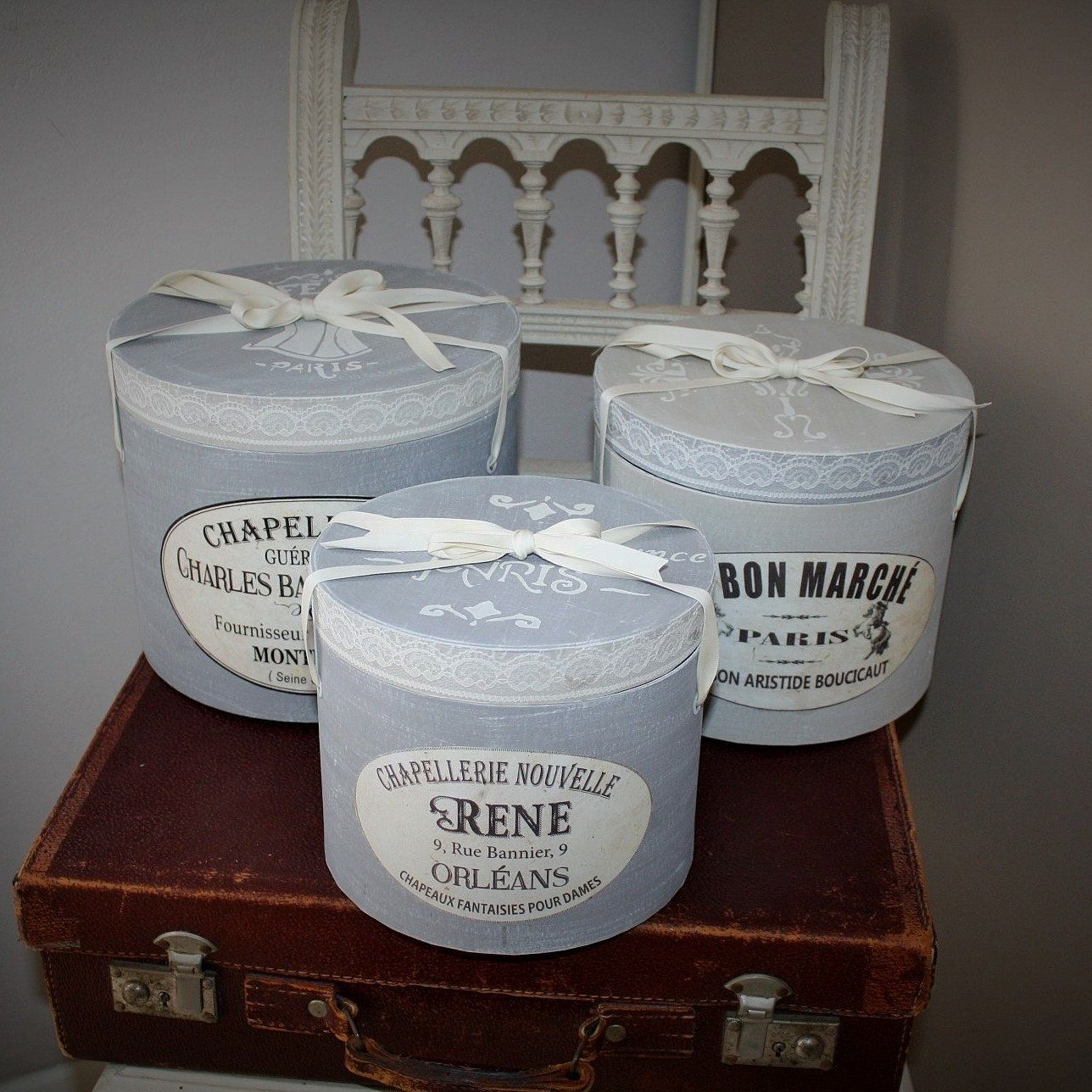 Lot De Boites A Chapeaux Boites Shabby Chic Boites Rangement Boite A Chapeau Boite De Rangement Boite