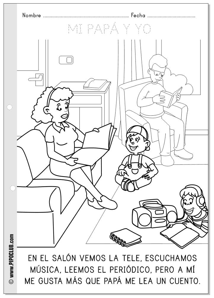 Día del Padre - Ficha para colorear y leer - Leyendo | Spanish Ed ...