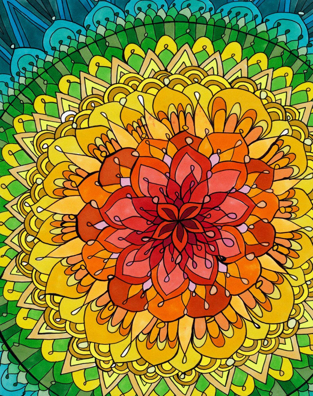 Mandala Apocalypse Print Rainbow Copic By Paintmyworldrainbow Mandala Drawing Mandala Mandala Art