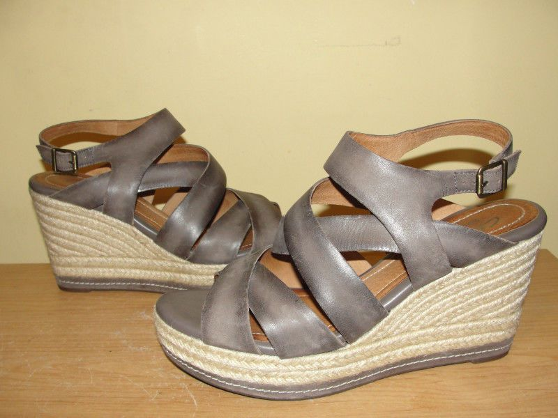 8f50fe599eb Clarks Indigo Brown Leather Jute Strappy Wedges Sandals Shoes Womens Size  10M  Clarks  PlatformsWedges  Casual