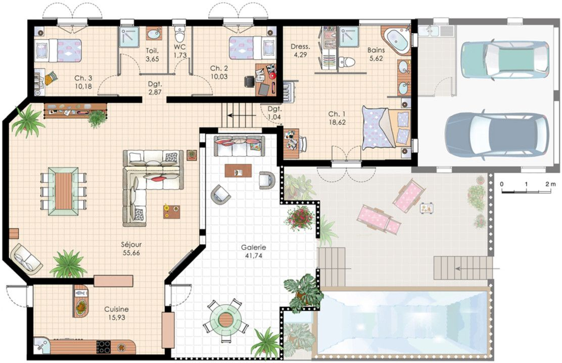Plan de villa recherche google plan de maison pinterest villas house and villa plan for Plan maison avec combles