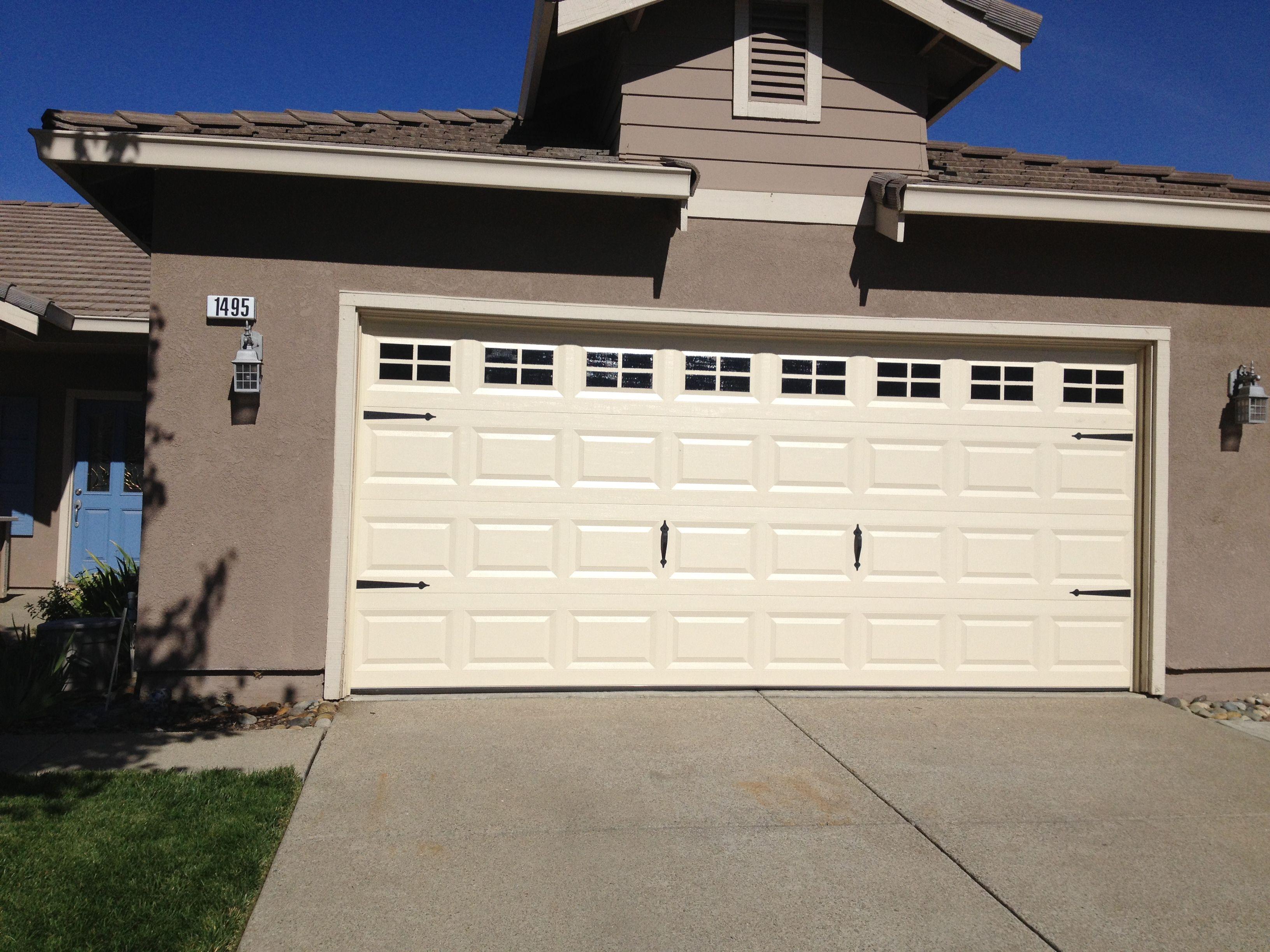 Faux Garage Door Windows Added Hardware Painted Windows On Plain Garage Door Faux