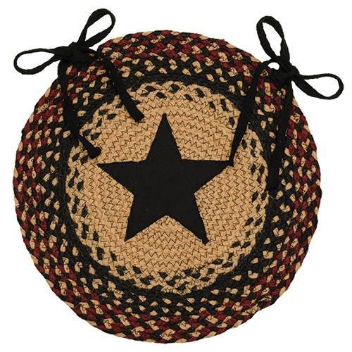 New Primitive Tan Black Wine Round BRAIDED STAR CHAIR PAD Rug Jute Seat  Cover #VHC