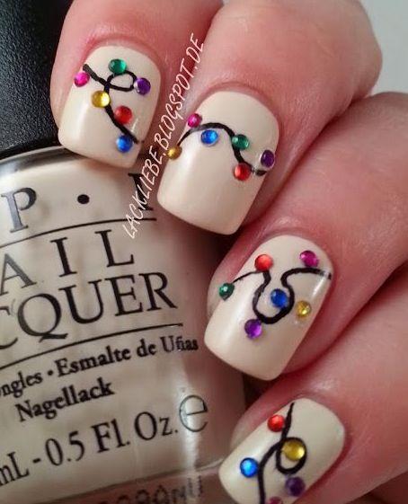 Christmas lights/ party nails - Christmas Lights/ Party Nails Nail Design Christmas Nails, Nails