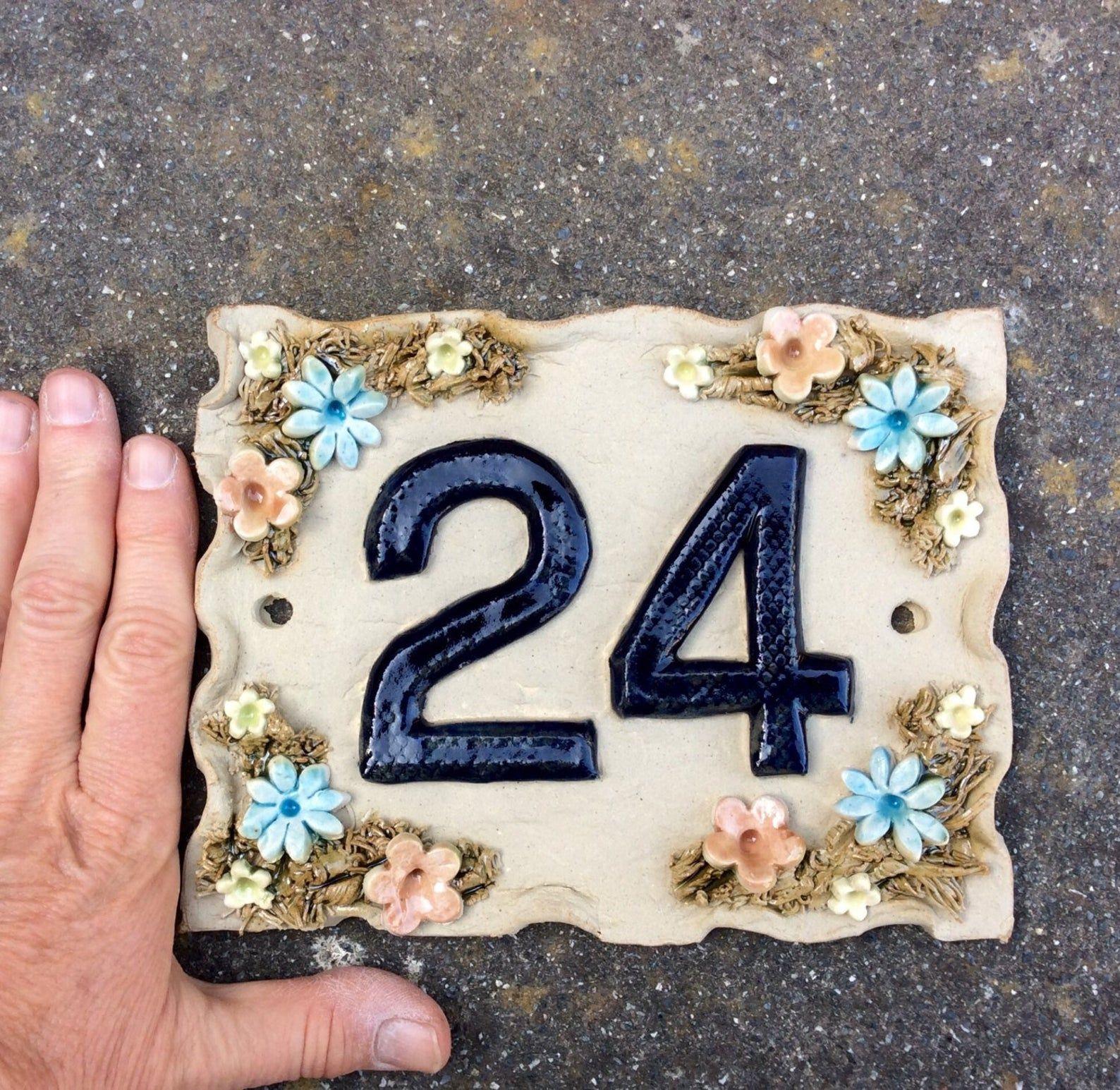 House number plaque ceramic door numbers yard sign
