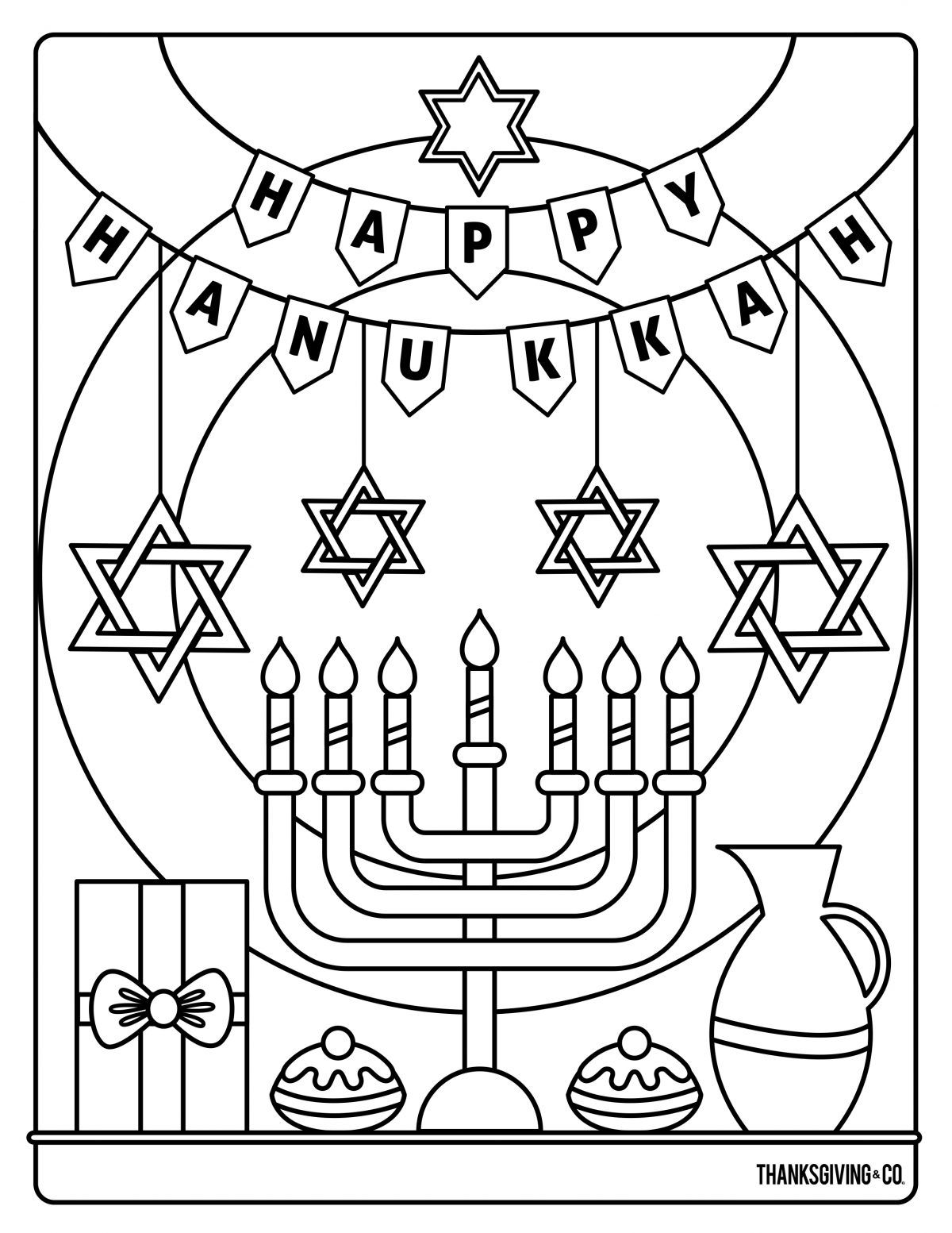 4 Hanukkah coloring pages you can print and share with