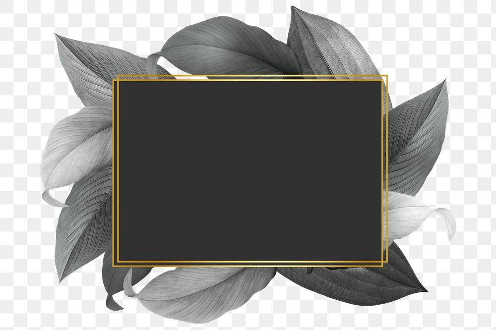 Grey Leaves With Golden Rectangle Frame Design Element Premium Image By Rawpixel Com Hein Frame Design Design Element Image Design