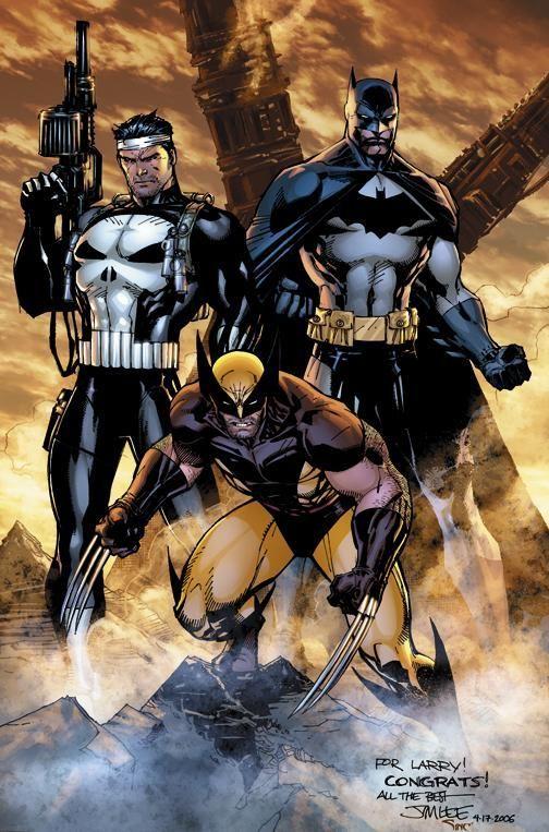 #Punisher #Fan #Art. (Punisher/Bat/Wolviren. Trio) By: Jim Lee. (THE * 5 * STÅR * ÅWARD * OF: * AW YEAH, IT'S MAJOR ÅWESOMENESS!!!™) ÅÅÅ+