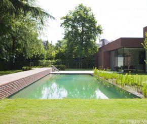 Hier werd een strakke natuurlijke zwemvijver gebouwd vertrekkende van een zwembad. Een prachtrealisatie van Tuinteam. Architect: Vincent Van Duysen.