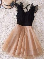black and tan chiffon dress
