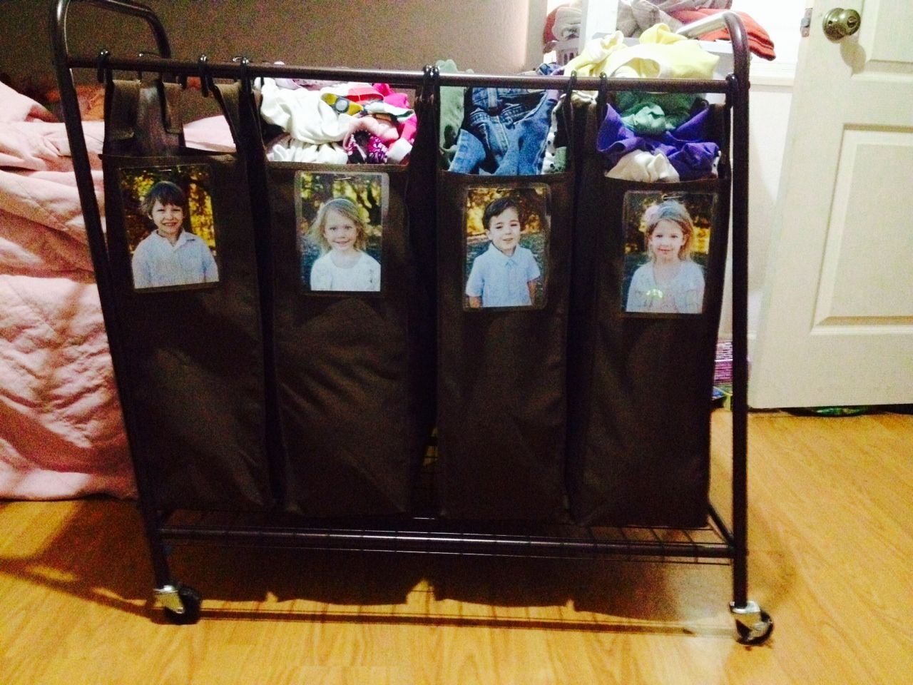 Large family laundry hamper for four children laminated for Large family laundry