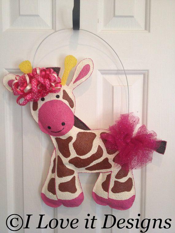Giraffe Burlap Door Hanger.  My oldest daughter loves giraffes.  This is so adorable.  How creative.