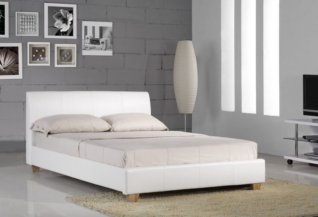 white leather bed google search - White Leather Bed Frame