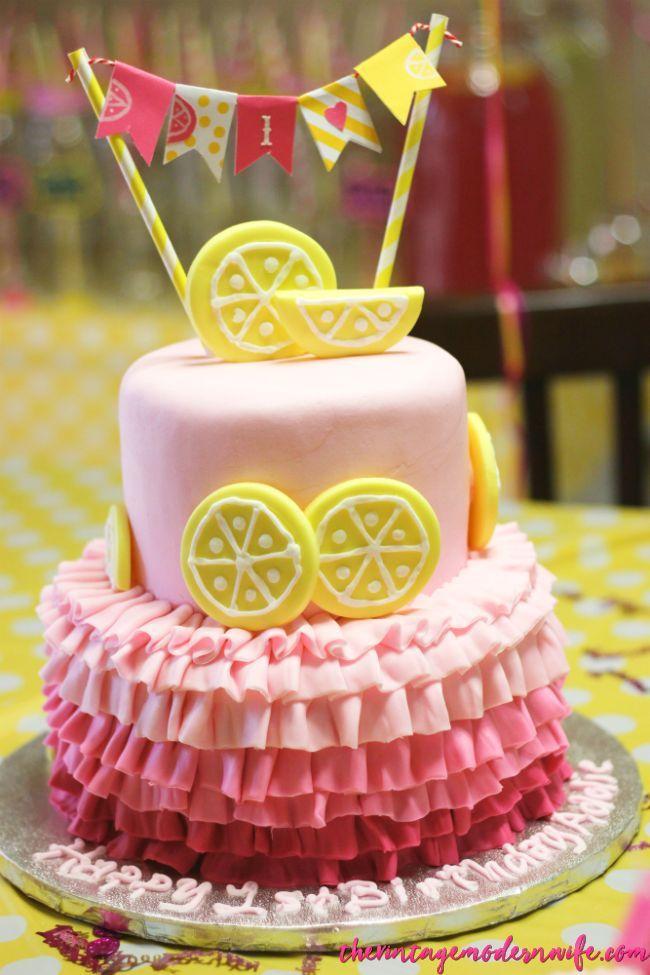 Magnificent The Cutest Lemonade Birthday Party Ever Lemonade Party Cake Funny Birthday Cards Online Drosicarndamsfinfo