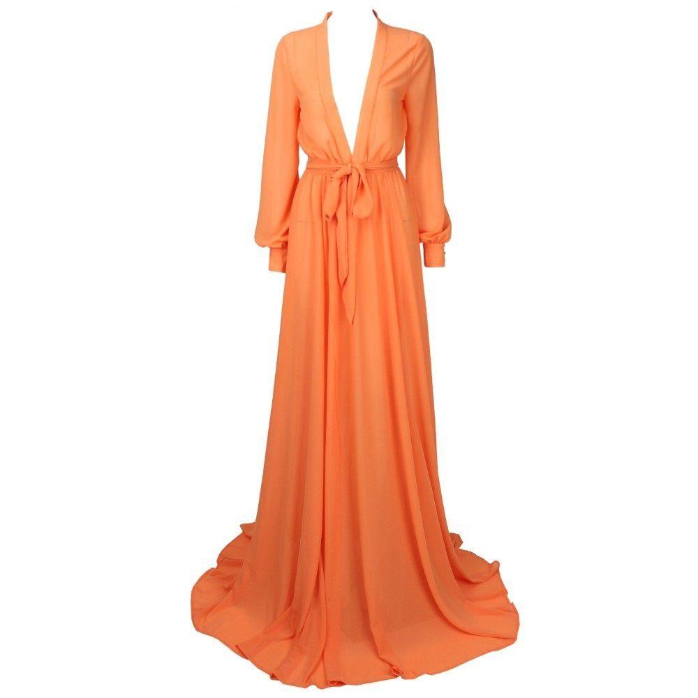 Floor Length Orange Dresses