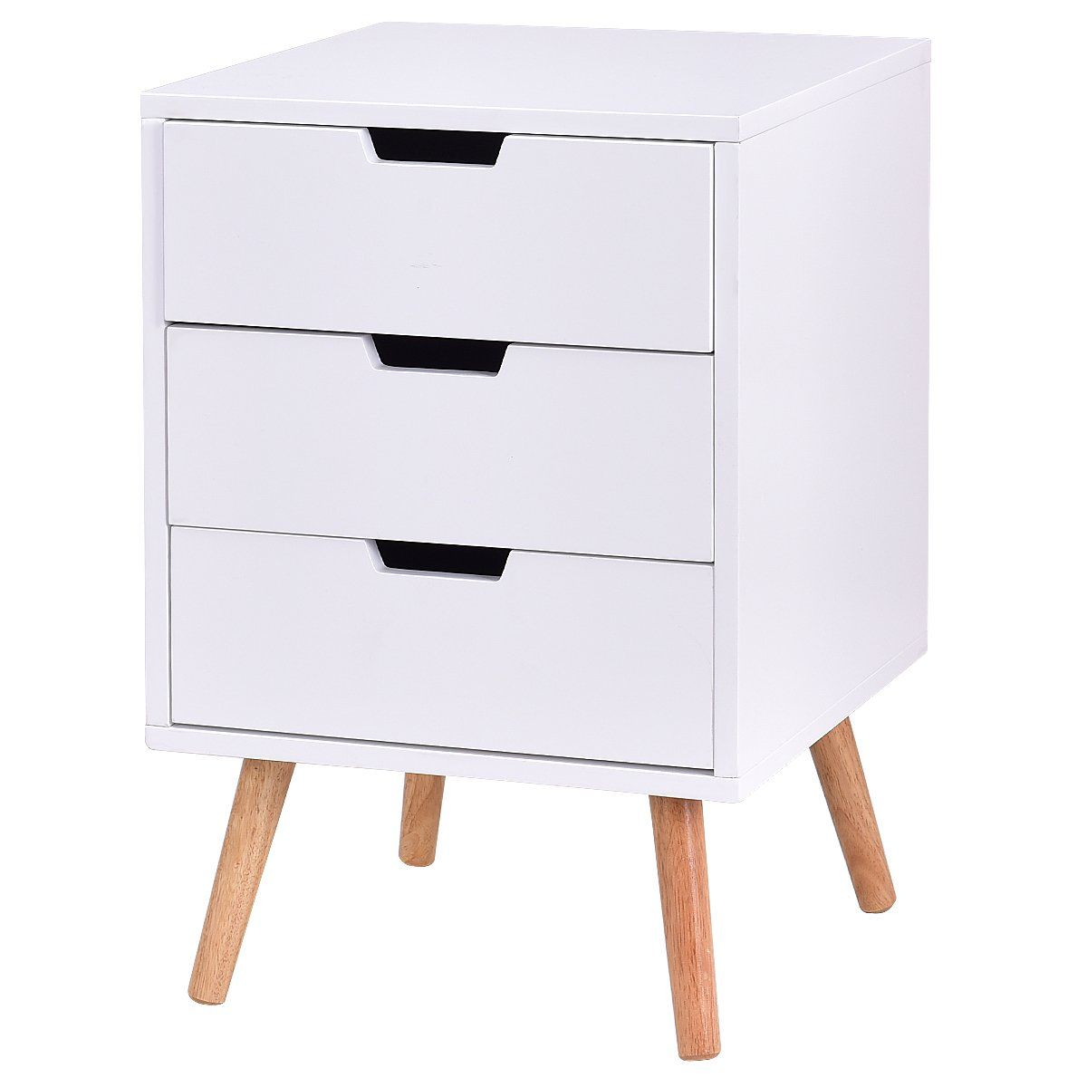Giantex White Side End Table Nightstand With Drawers Mid-Century ...