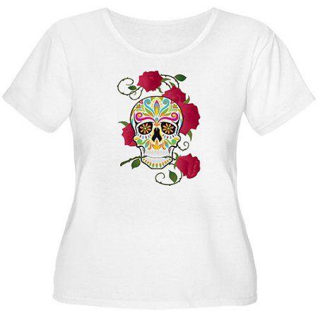7d9f4467a03 Women s Plus-Size Rose Sugar Skull T-Shirt