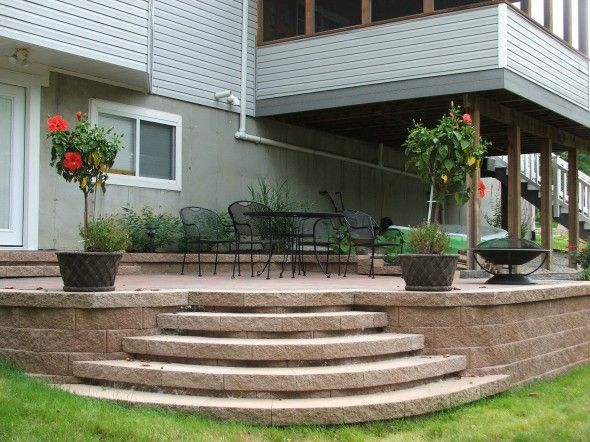 Patio Design Ideas For Small Space: Curved Steps Into Patio