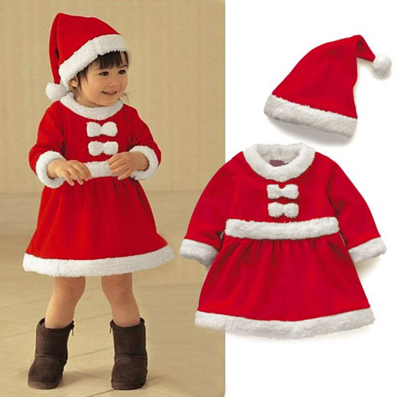7f7865128 hot sale high quality Kids Gilrs Santa Claus Costume Xmas Fancy Dress  Children Christmas Party Dress with Cap Hat #KS0072