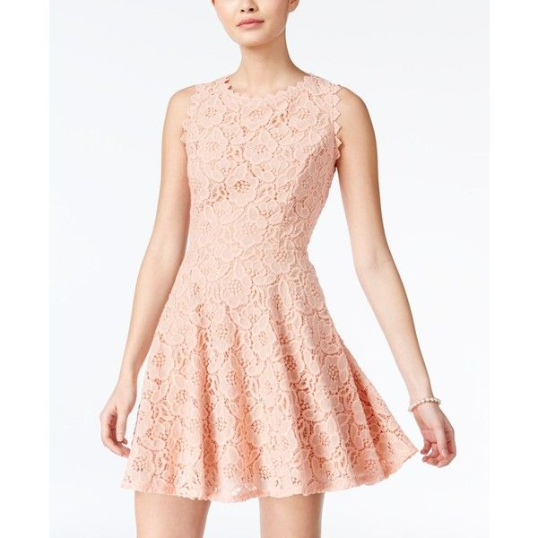 City Studios Juniors' Lace Fit & Flare Dress ($35) ❤ liked on Polyvore featuring dresses, blush rose, rose lace dress, city studio dresses, pink lace dress, rose dress and rosette dress