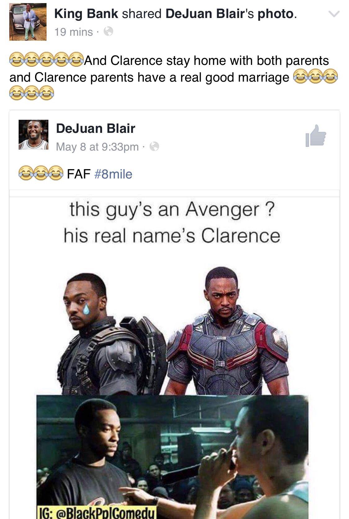 Clarence 8 Mile : clarence, #8Mile, #Avengers, #Clarence, @VinaKsena, مجد, Avengers,, Funny, Memes,, Pictures